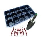 Seedling Starter Kit, 1x Seed Tray, 1x Garden Potting Trowel, 5x Red Plastic Tweezers. X8173